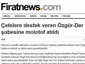 PKK'li ANF Özgür-Der'e Yapılan Saldırıyı Sahiplendi