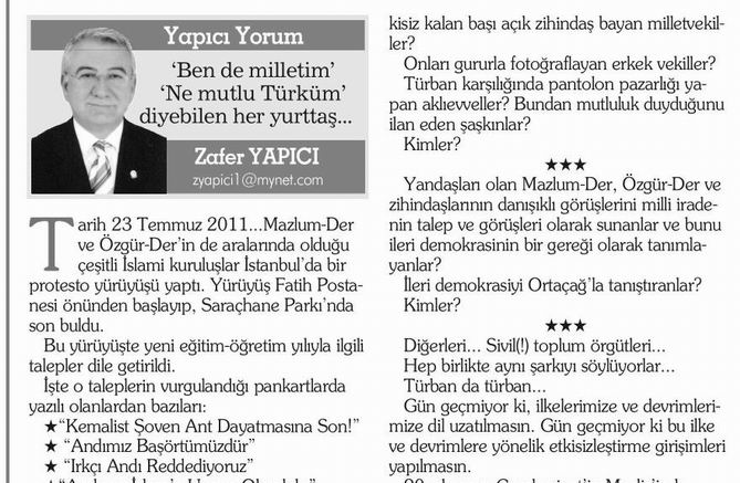 'Ben de milletim' 'Ne mutlu Türküm' diyebilen her yurttaş...