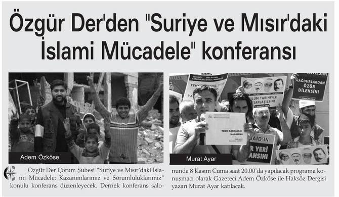 """Özgür Der'den """"Suriye ve Mısır'daki İslami Mücadele"""" Konferansı"""