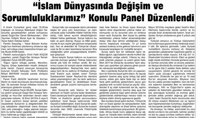 """""""İslam Dünyasında Değişim Ve Sorumluluklarımız"""" Konulu Panel Düzenlendi"""