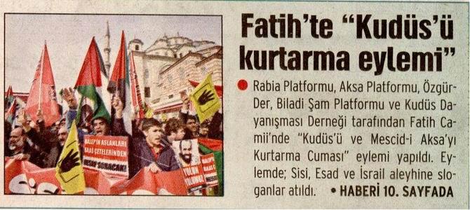 "Fatih'te ""Kudüs'ü Kurtarma Eylemi"""