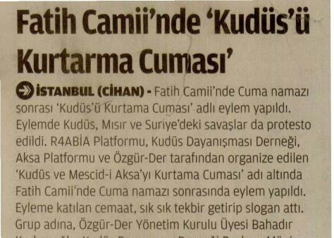 Fatih Camii'nde 'Kudüs'ü Kurtarma Cuması'