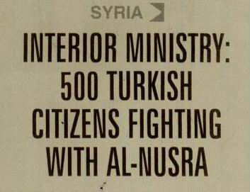 Interior Ministry: 500 Turkish Citizens Fighting With Al-Nusra