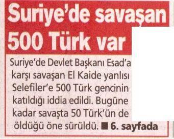 Suriye'de Savaşan 500 Türk Var