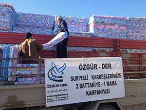 Özgür-Der'den Suriye'ye Battaniye Yardımı (FOTO)
