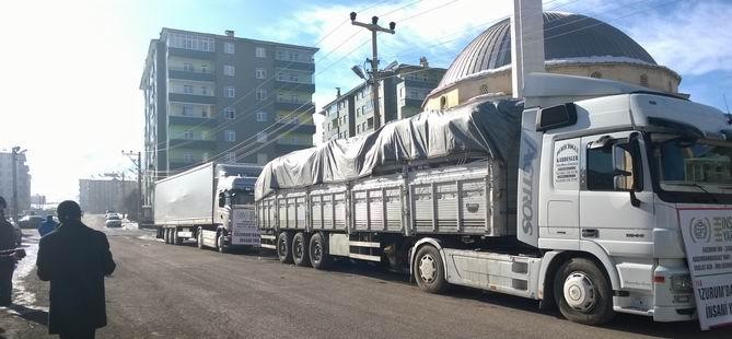 Erzurum'dan Suriye'ye 2 Tır Yardım Malzemesi Yola Çıktı