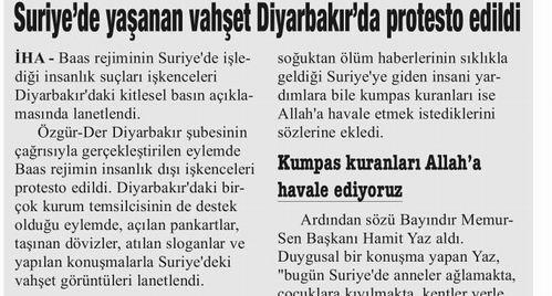 Suriye'de Yaşanan Vahşet Diyarbakır'da Protesto Edildi