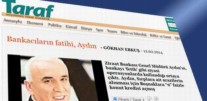 Taraf'tan, Ziraat Bankasına  Suçlama