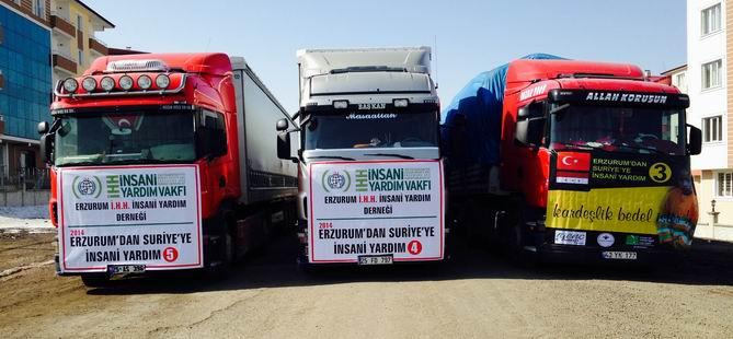 Erzurum'dan Suriye'ye 3 Tır Yardım Malzemesi Yola Çıktı