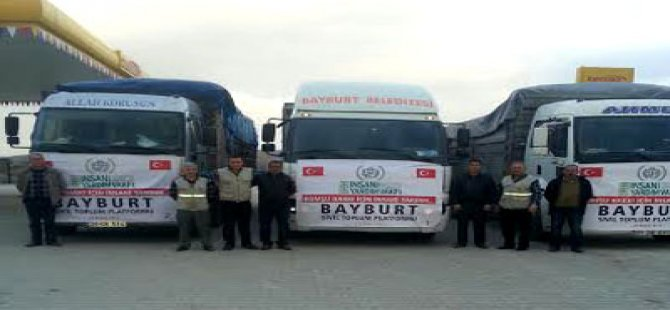 Bayburt'ta Suriye İçin Toplanan Yardımlar Yerine Ulaştı