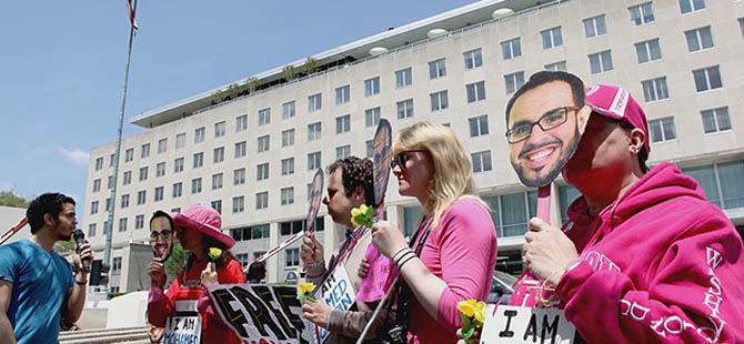 ABD Dışişleri Bakanlığı Önünde Mısır Protestosu