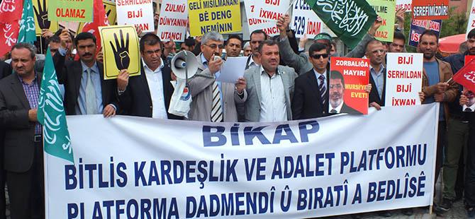 Bitlis'te Mısırlı Müslümanlara Destek Eylemi