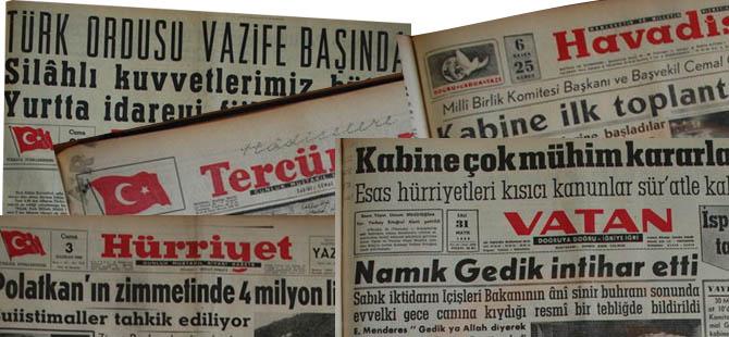 Menderes'i İdama Götüren Darbeci Manşetler