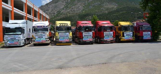 Amasya'dan Suriye'ye 7 TIR İnsani Yardım Gönderildi