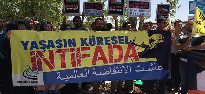 Ankara'da İsrail Zulmü Tel'in Edildi