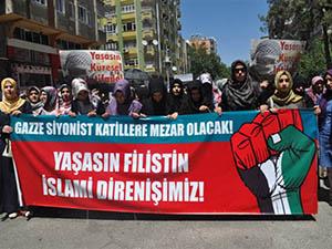 İsrail'in Gazze Terörü Diyarbakır'daki Yürüyüşte Lanetlendi