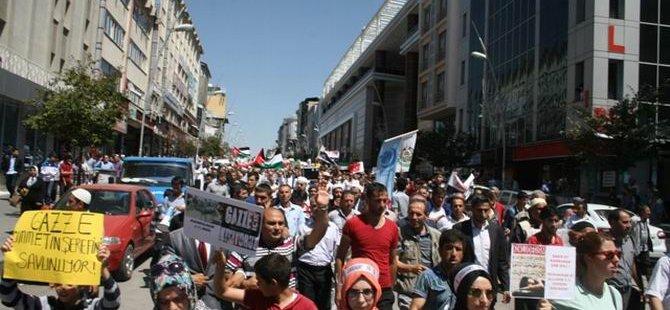 Erzurum'da Siyonist Saldırılar Protesto Edildi