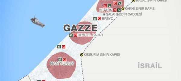 Detaylı Gazze Haritası ve Saldırı Bölgeleri