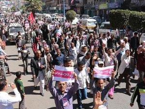 Yemen'de Husi Darbesi  Protesto Edildi