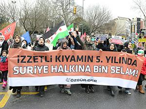 İstanbul'da Suriye İntifadasını Selamlama Yürüyüşü