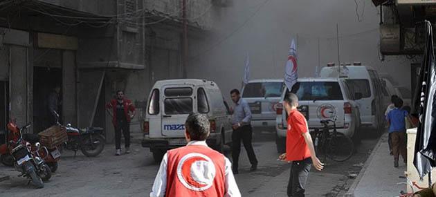 Şam'da Yardım Konvoyuna Saldırı: 1 Ölü 10 Yaralı