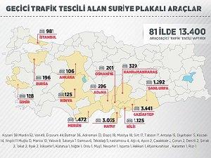 13 Bin 400 Araçta Suriye Plakası
