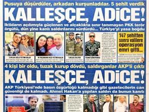 """Hürriyet ve Sözcü, Tam Sayfa """"Kalleşçe ve Adice"""""""