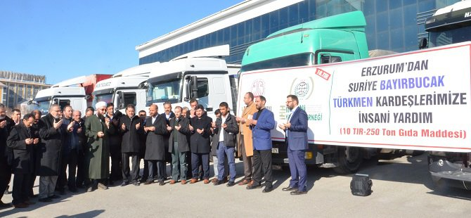 Erzurum'dan Suriye'ye 10 TIR Yardım