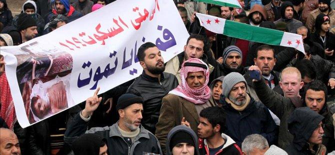Lübnan-Suriye Sınırında Madaya Protestosu