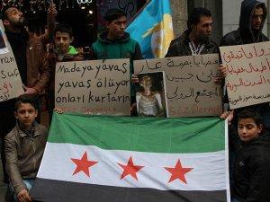 Suriyelilerden 'Madaya' Eylemi