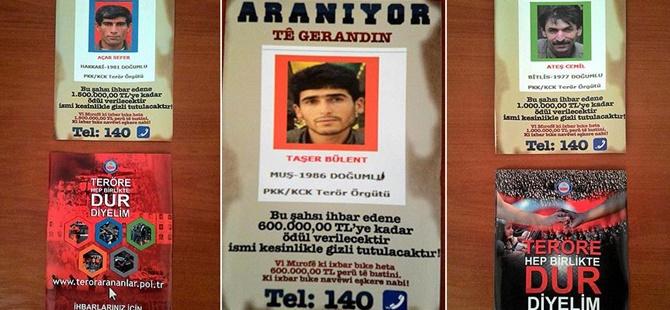 Bitlis'te Aranan PKK'lıların Afişleri Asıldı