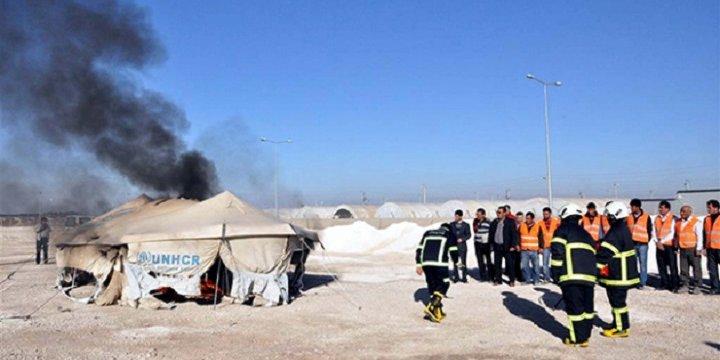 Suriyelilerin Kaldığı Çadırkentte Yangın Çıktı
