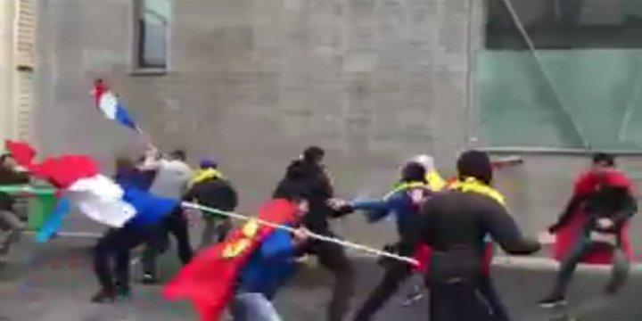 PKK'lı Çeteler Paris'te Ermenistan'ı Protesto Eden Azerilere Saldırdı