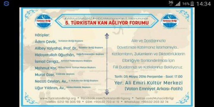 """""""Türkistan Kan Ağlıyor Forumu""""nun Beşincisi Yarın Yapılacak"""