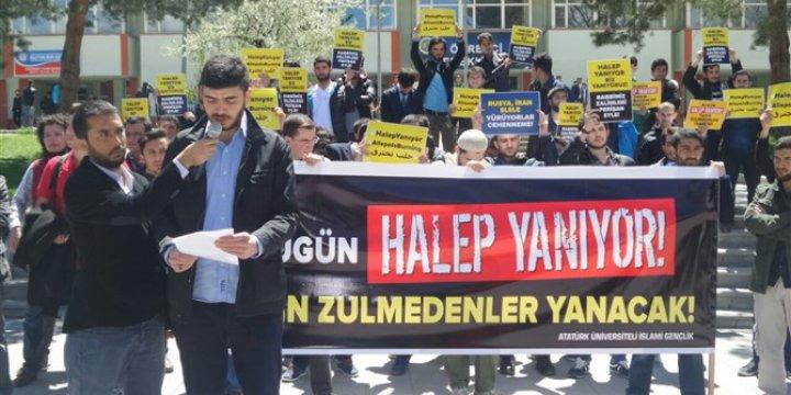 Erzurum Atatürk Üniversitesinde Halep'e Destek Eylemi