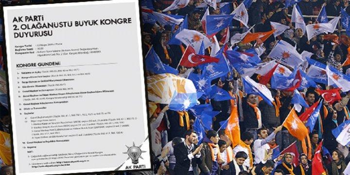 AK Parti'den Olağanüstü Kongre Resmen Duyuruldu
