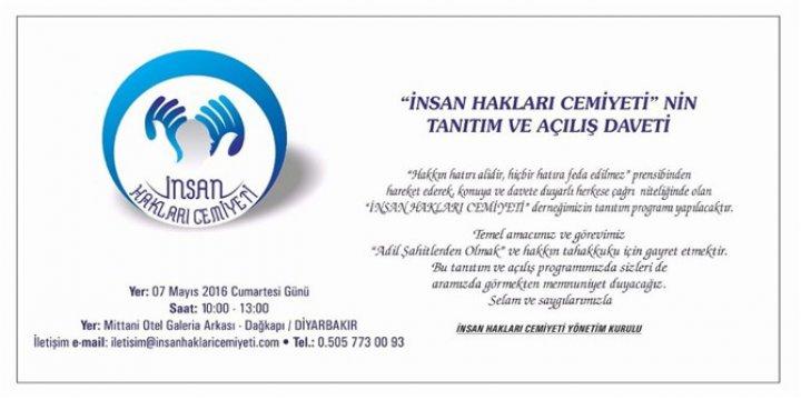 Diyarbakır'da 'İnsan Hakları Cemiyeti' Kuruluyor