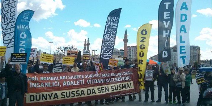 Halep'teki Katliamlar Sivas'ta Protesto Edildi