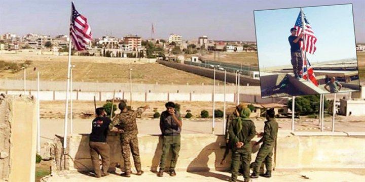 PKK/PYD Karargahına Bayrakları Ortakları Asmış