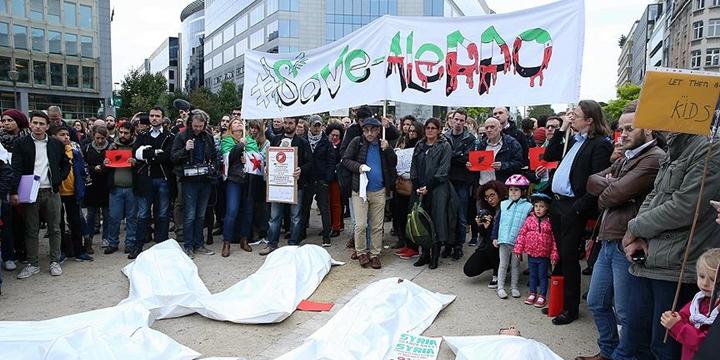 Rusya ve Esed Rejimi Brüksel'de Protesto Edildi