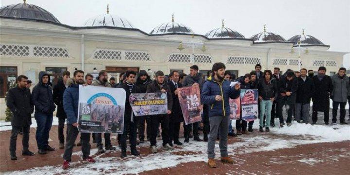 Halep'teki Katliamlar Yozgat Bozok Üniversitesi'nde Protesto Edildi