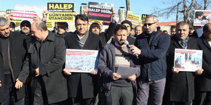 Halep'teki Kuşatma ve Katliamlar Muş'ta Protesto Edildi