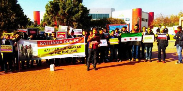 Adnan Menderes Üniversitesi'nde Halep Katliamları Protesto Edildi
