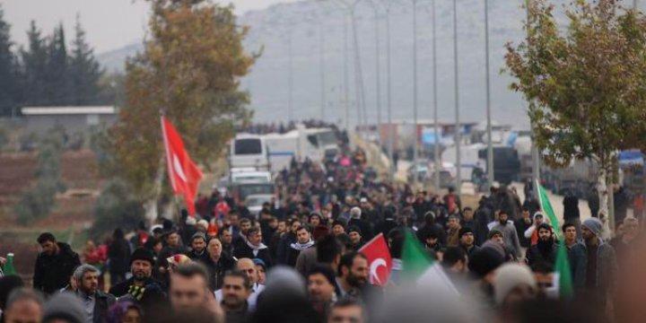"""""""Halep'e Yol Açın"""" Konvoyu Sınıra Dayandı"""