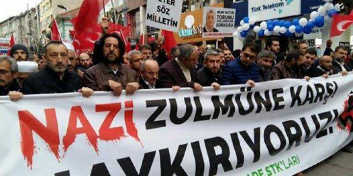 Sakarya'da Hollanda'ya Protesto Yürüyüşü