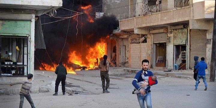 IŞİD'den Kaçan Suriyeliler Rejim Uçaklarının Hedefinde