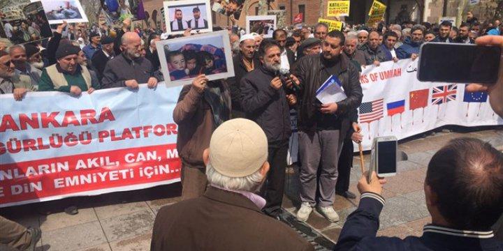 İdlib'deki Kimyasal Katliam Ankara'da Protesto Edildi