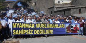 Arakan'daki Katliamlar Diyarbakır'da Lanetlendi