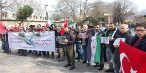 Bursa'da Doğu Guta'daki Katliamlar Protesto Edildi