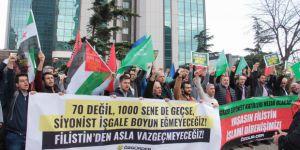 Siyonist İsrail'in Katliamları Siyonist Konsolosluk Önünde Protesto Edildi